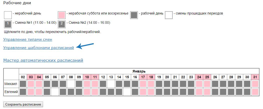 Рисунок 6 - Управление шаблонами расписаний